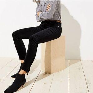Loft black modern skinny velveteen pants 28/6